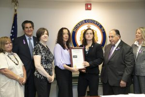 The Morris County Freeholders proclaimed October 2019 Domestic Violence Awareness Month. From left, Freeholders Kathy DeFillippo and Stephen Shaw, JBWS vice president Diana Kurlander and president Diane Williams, Freeholder Director Heather Darling, Morris County Prosecutor Frederic M. Knapp and Freeholder Deb Smith.
